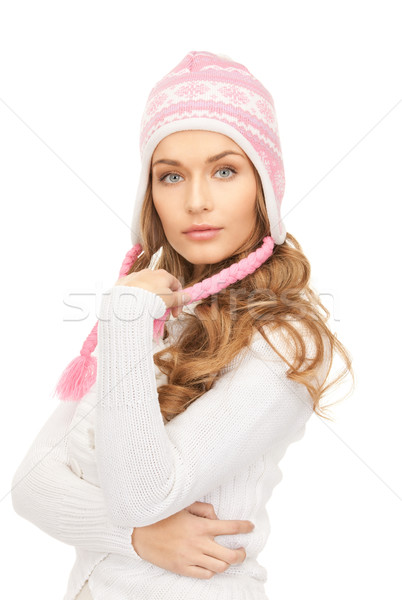 beautiful woman in winter hat Stock photo © dolgachov