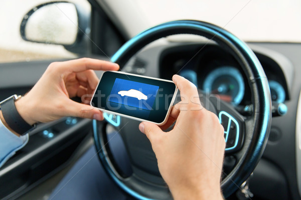 close up of male hands with car icon on smartphone Stock photo © dolgachov