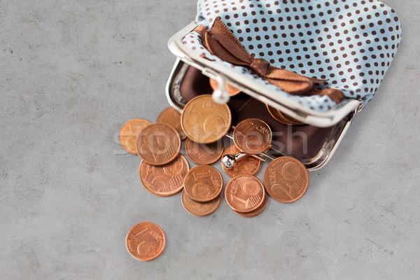 евро монетами бумажник таблице Финансы Сток-фото © dolgachov