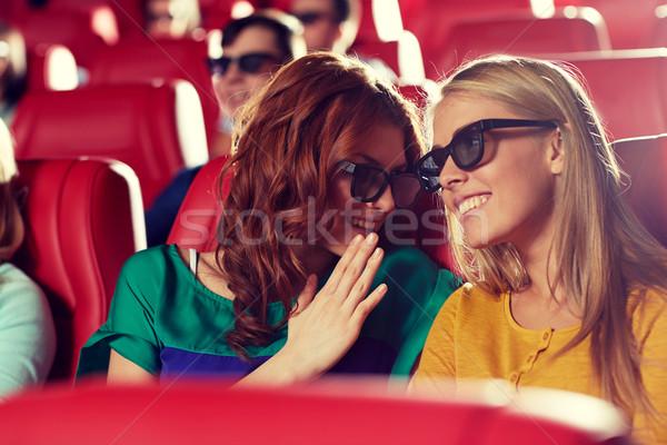 Feliz amigos assistindo filme 3D teatro Foto stock © dolgachov