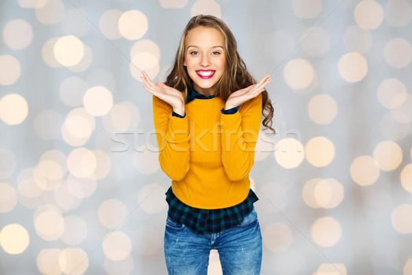 Feliz mulher jovem menina adolescente casual roupa pessoas Foto stock © dolgachov