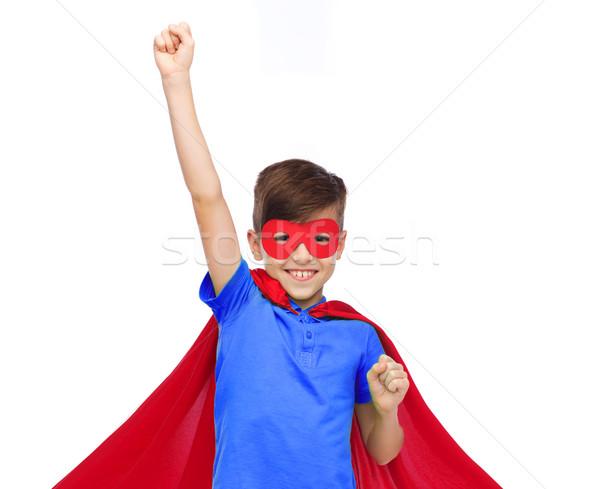 Erkek kırmızı süper kahraman maske karnaval Stok fotoğraf © dolgachov