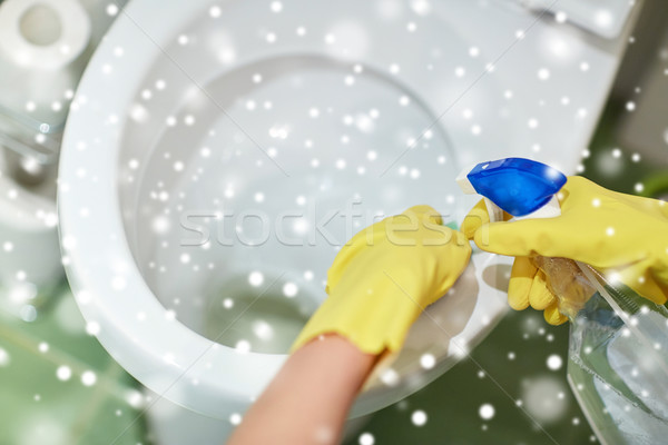 стороны моющее средство очистки туалет люди Сток-фото © dolgachov