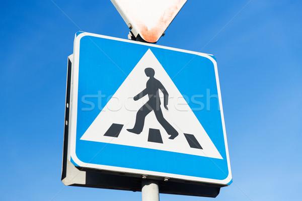 пешеход дорожный знак безопасности движения Сток-фото © dolgachov