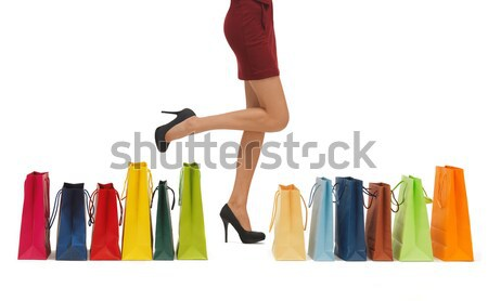 close up of women with clutches and shopping bags Stock photo © dolgachov