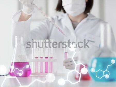 Stock fotó: Közelkép · tudós · tart · kémcső · labor · tudomány