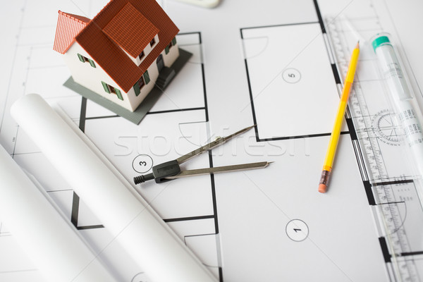 close up of architectural blueprint and tools Stock photo © dolgachov
