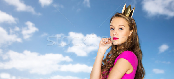 young woman or teen girl in pink dress Stock photo © dolgachov
