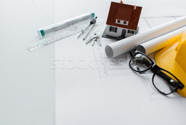 Stock fotó: Közelkép · terv · szerszámok · ház · kulcsok · építészet