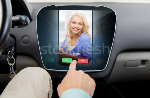 close up of man using phone application in car Stock photo © dolgachov