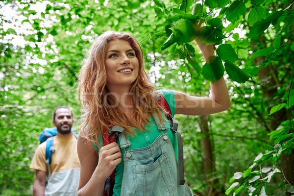 счастливым пару походов лесу Adventure путешествия Сток-фото © dolgachov