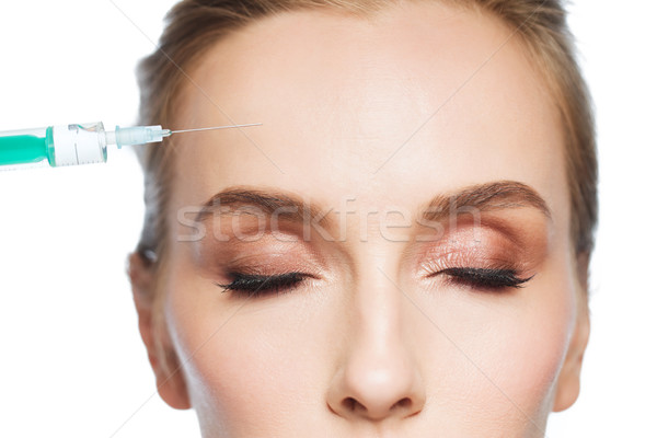woman face and syringe making injection Stock photo © dolgachov