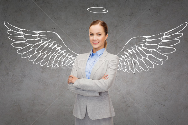 Boldog üzletasszony angyalszárnyak üzlet angyal befektető Stock fotó © dolgachov