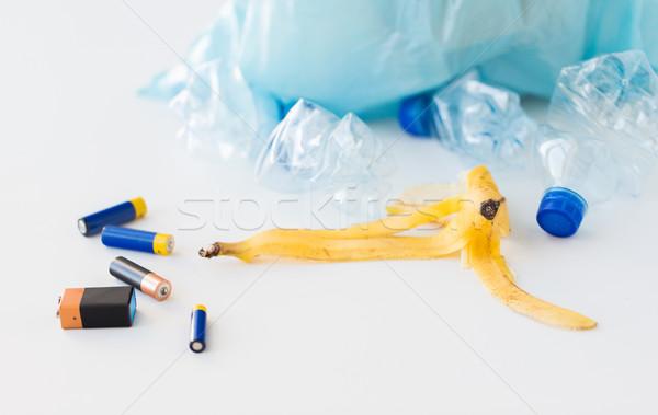 close up of rubbish bag with trash Stock photo © dolgachov
