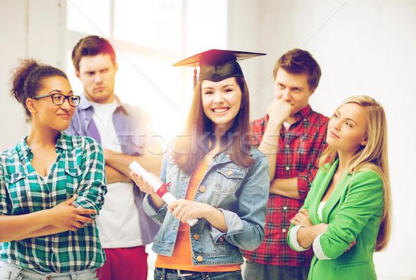 Kız mezuniyet kapak sertifika eğitim rekabet Stok fotoğraf © dolgachov