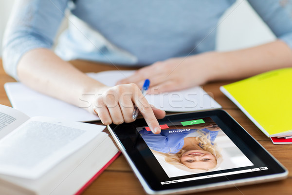 close up of woman with incoming call on tablet pc Stock photo © dolgachov