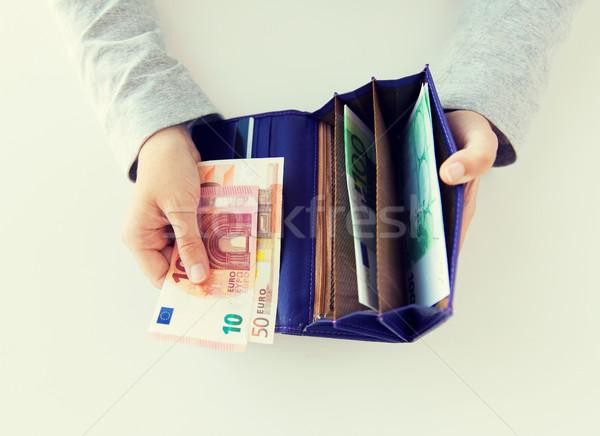 女性 手 ウォレット ユーロ お金 ストックフォト © dolgachov
