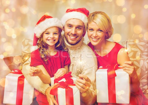 Gülen aile hediye kutuları Noel noel Stok fotoğraf © dolgachov