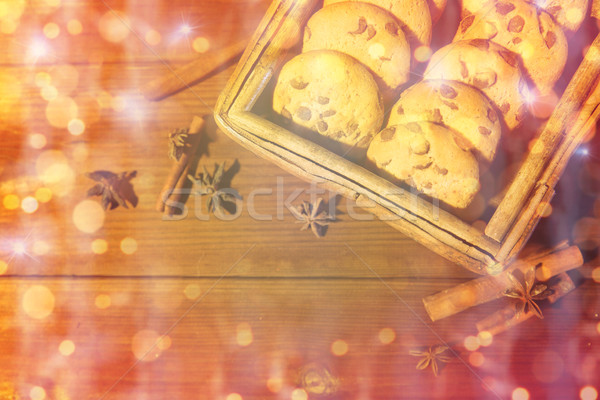 close up of oat cookies on wooden table Stock photo © dolgachov