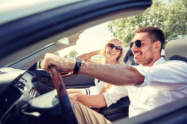 幸せ 男 女性 運転 二輪馬車 車 ストックフォト © dolgachov
