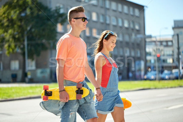 十代の カップル 街 夏 休日 ストックフォト © dolgachov