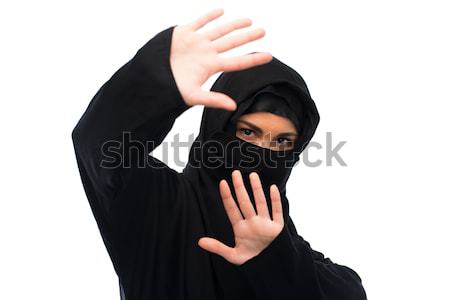 muslim woman in hijab showing stop sign Stock photo © dolgachov