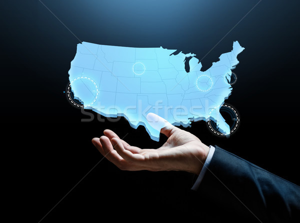 Hand kaart Verenigde Staten amerika zakenlieden zakenman Stockfoto © dolgachov