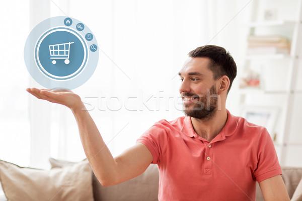 человека Корзина икона проекция домой виртуальный Сток-фото © dolgachov