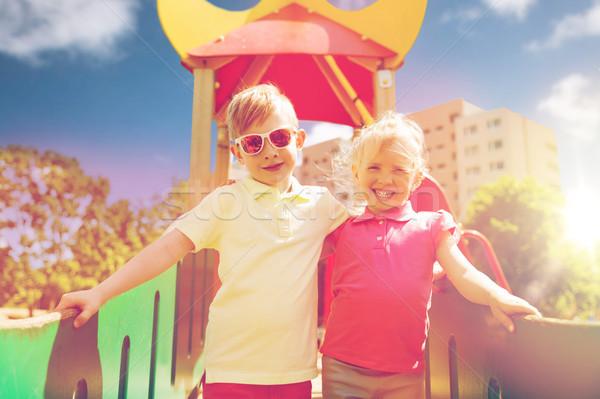 Dwa szczęśliwy dzieci dzieci boisko Zdjęcia stock © dolgachov