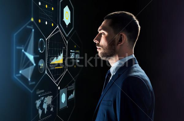 ビジネスマン スーツ 見える バーチャル 投影 ビジネスの方々 ストックフォト © dolgachov