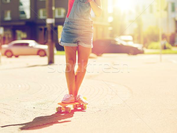 十代の少女 ライディング スケート 街 夏 ストックフォト © dolgachov