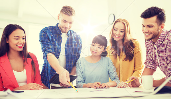 Creatieve team blauwdruk werken kantoor business Stockfoto © dolgachov