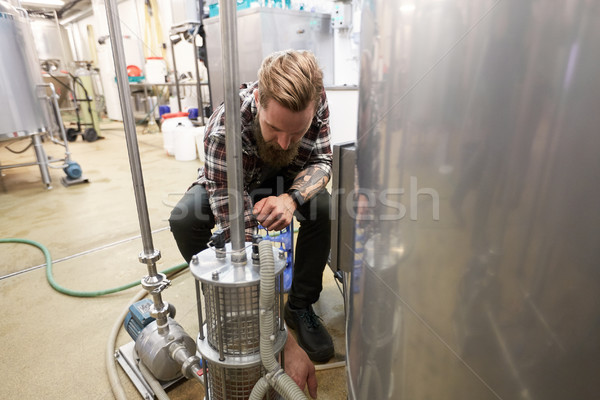man working at craft beer brewery Stock photo © dolgachov
