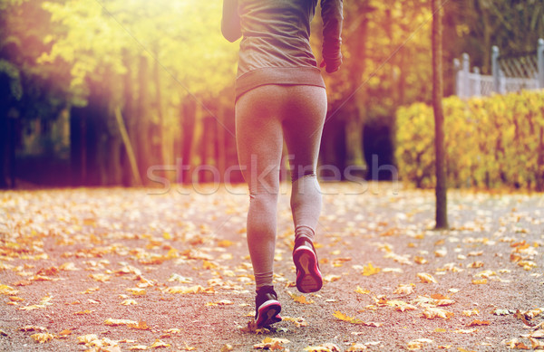 close up of young woman running in autumn park Stock photo © dolgachov
