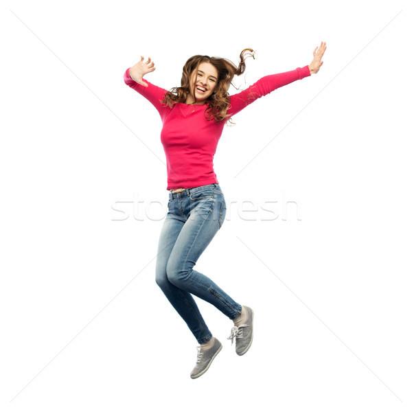 Stok fotoğraf: Gülen · genç · kadın · atlama · hava · mutluluk · özgürlük