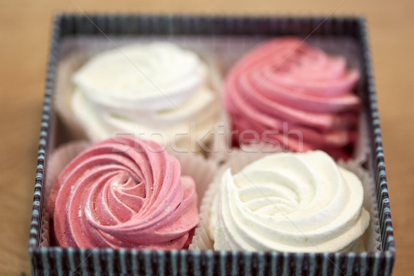 zephyr or marshmallow dessert in gift box Stock photo © dolgachov