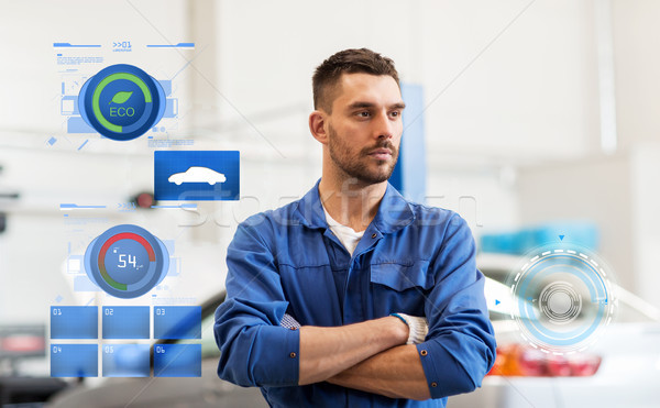 auto mechanic man or smith at car workshop Stock photo © dolgachov