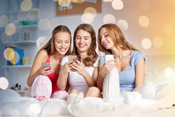 friends or teen girls with smartphone at home Stock photo © dolgachov