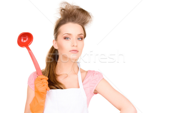 Háziasszony piros merőkanál kép gyönyörű narancs Stock fotó © dolgachov