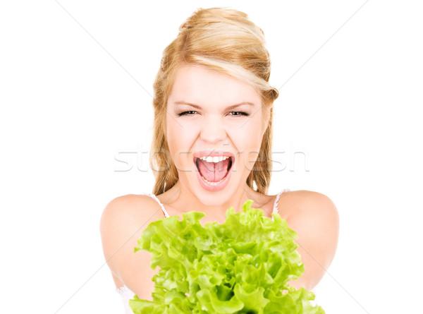 Feliz mujer lechuga Foto blanco belleza Foto stock © dolgachov