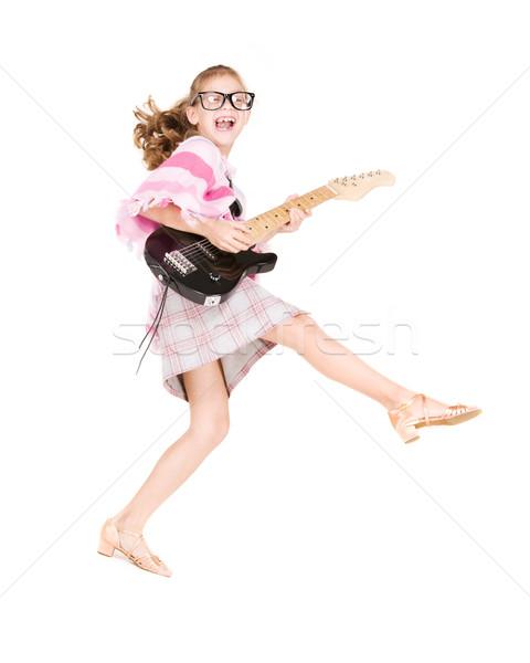 Photo stock: Guitare · fille · photos · drôle · guitare · électrique · musique