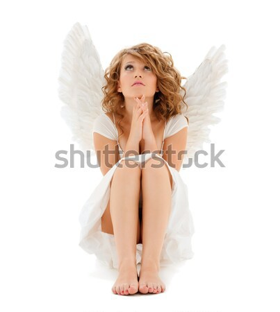 Lingerie anjo flocos de neve loiro menina asas de anjo Foto stock © dolgachov