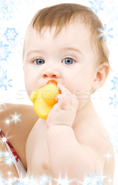 Stock photo: baby with duck