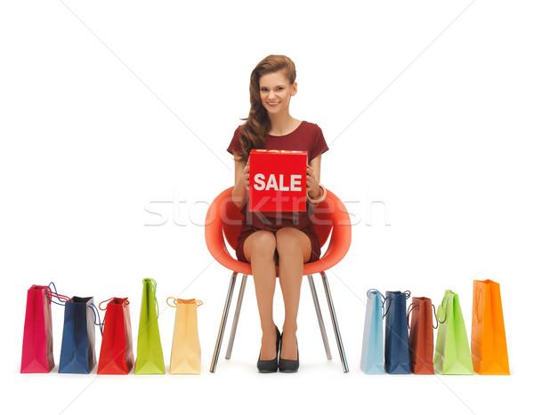 Kadın resim satış imzalamak alışveriş Stok fotoğraf © dolgachov