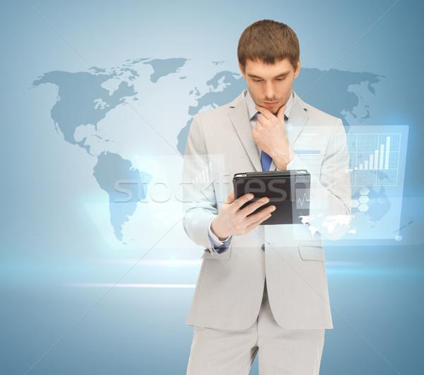 Man werken virtueel scherm knappe man Stockfoto © dolgachov
