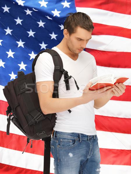 Estudiante brillante Foto mochila libro Foto stock © dolgachov