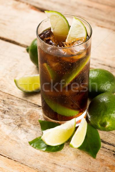 Koktél kóla jégkockák citrus ital háttér Stock fotó © dolgachov
