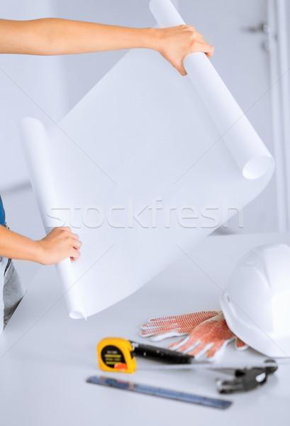 Arquitecto plan arquitectura casa flexible Foto stock © dolgachov