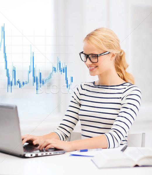 student with laptop computer and eyeglasses Stock photo © dolgachov