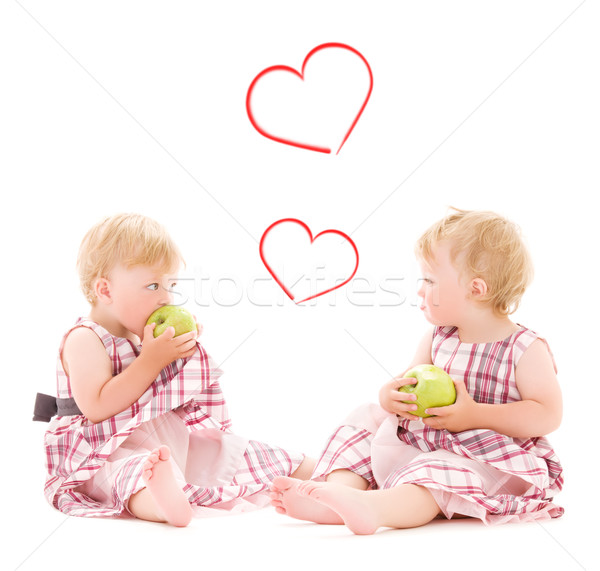 Kettő imádnivaló ikrek fehér gyerekek boldogság Stock fotó © dolgachov